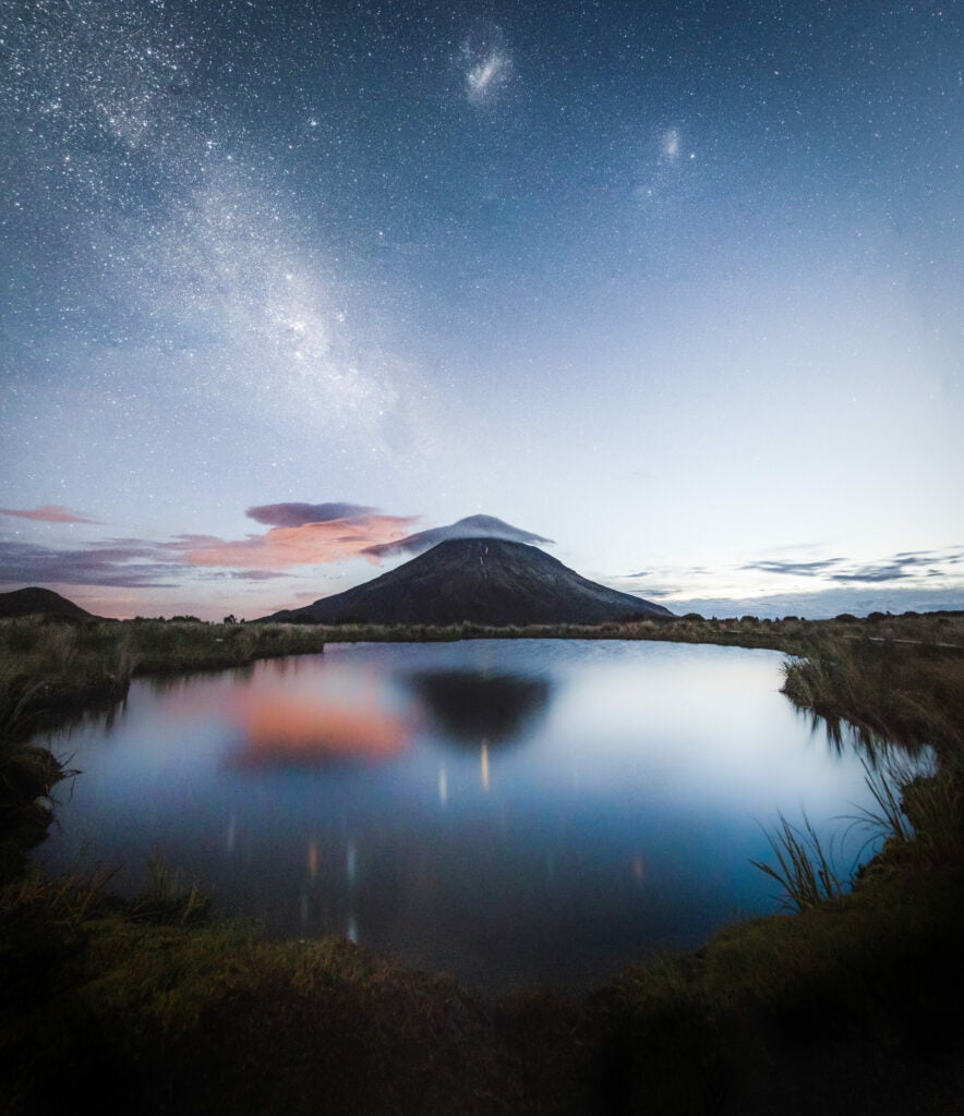 mount taranaki with milky way