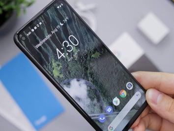 hand holding pixel phone