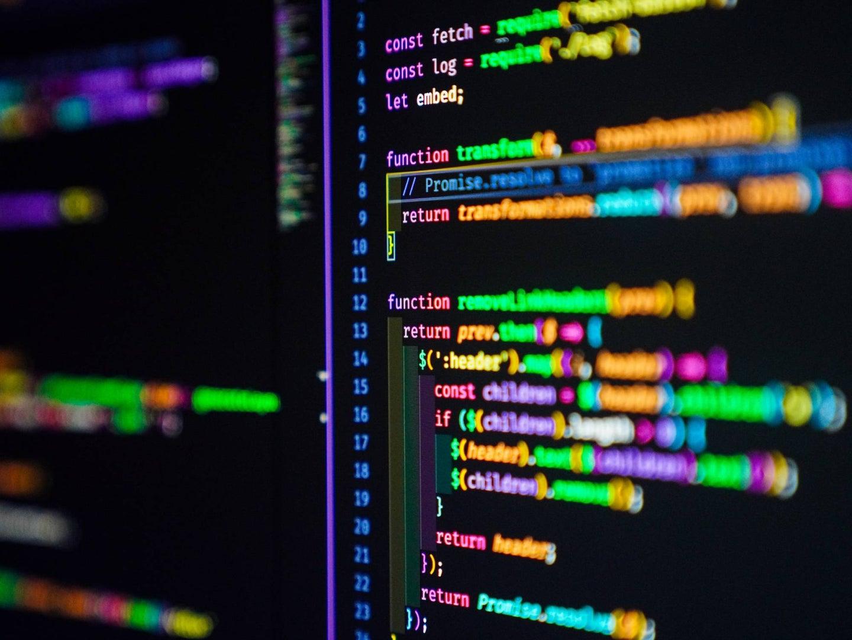Screen showing Javascript code