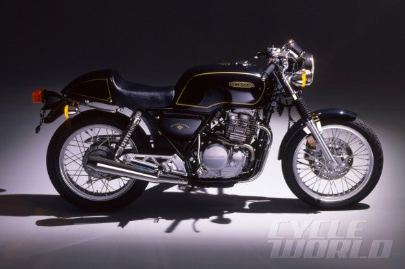 "Honda's answer to the ""classic 500cc British single,"" the GB500 Tourist Trophy."