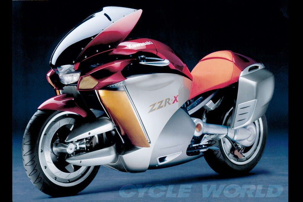 Kawasaki got in the center-hub & adjustable-ergonomics game with its sleek 2004 ZZR-X concept.