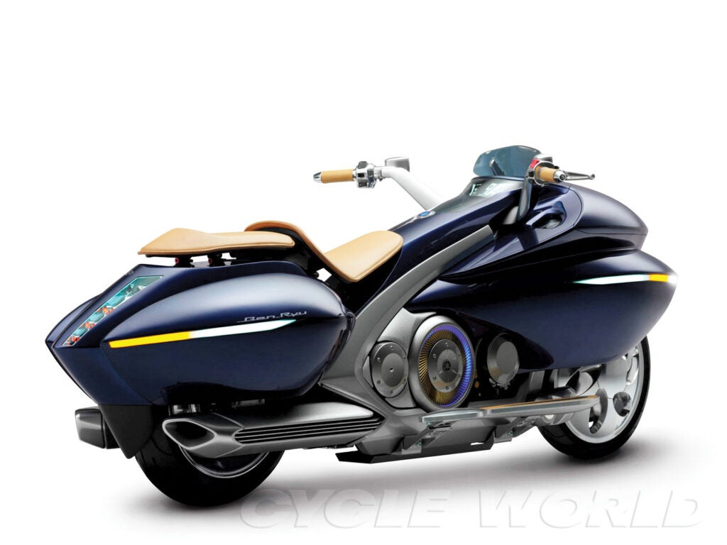 Cooler than a Prius, the Yamaha Gen-Ryu gas-electric hybrid got some of the craziest style ever.