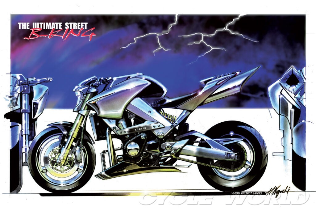 2001 Suzuki B-King concept became production minus its supercharger.
