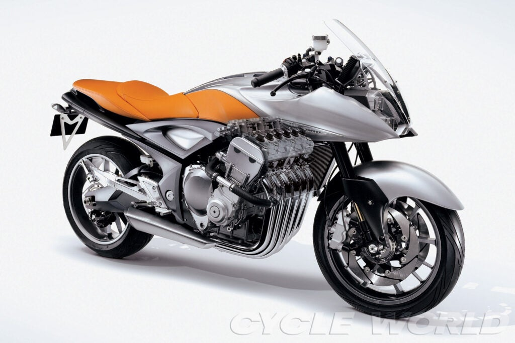 2005 Suzuki Stratosphere concept combined a narrow 180-hp inline-6 with 1982 Katana-inspired design.