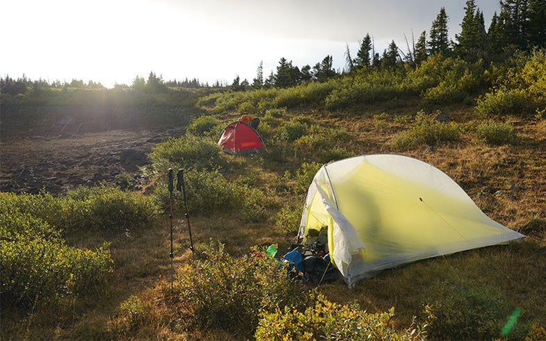 One-pound Fly Creek HV Carbon with Dyneema tent by Big Agnes in nature