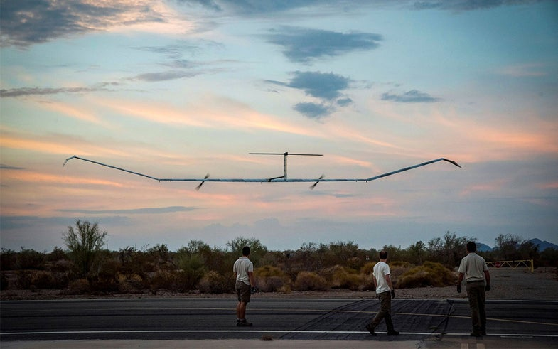 Record-breaking plane Zephyr S HAPS (Solar High Altitude Pseudo-Satellite) by Airbus in flight