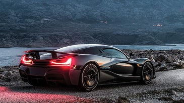 The fastest electric car C_Two by Rimac on the road