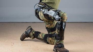 Onyx exoskeleton by Lockheed Martin on a soldier's leg