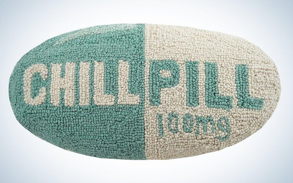 A pill-shaped pillow
