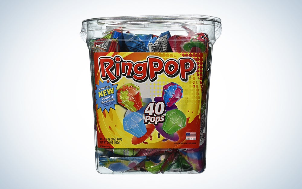 a container full of ring pops