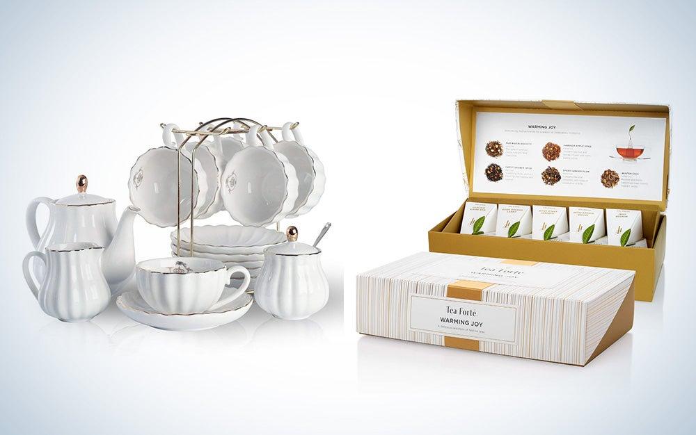Porcelain tea set—and tea!