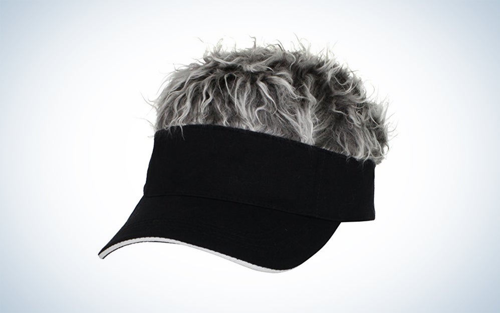 black visor with gray hair