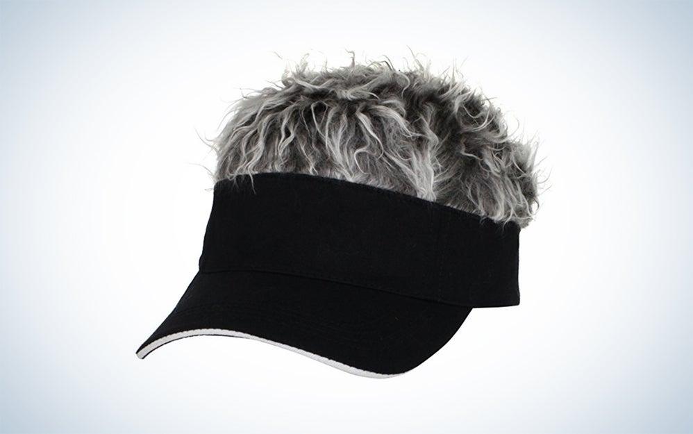 black visor with gray hair