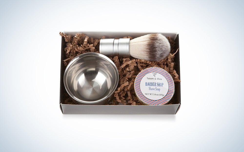 Soap, metal dish, and shaving cream brush