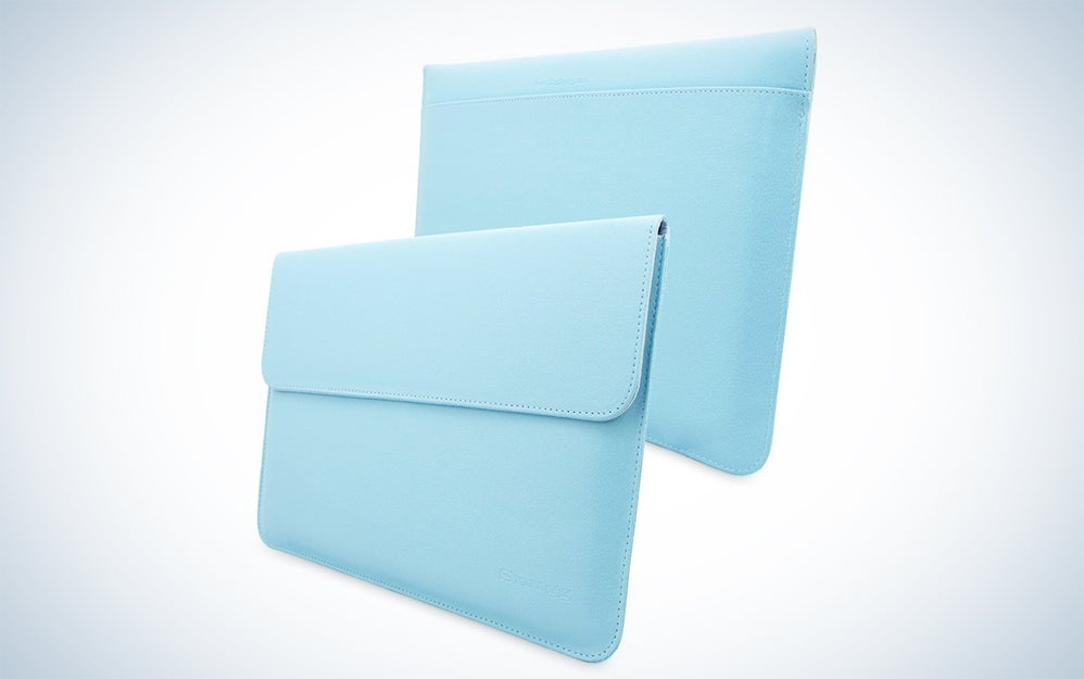 a pair of blue laptop sleeves