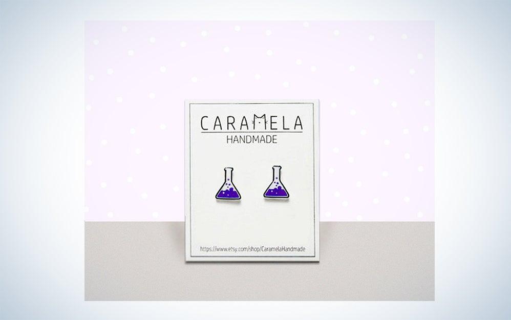 chemistry flask earrings