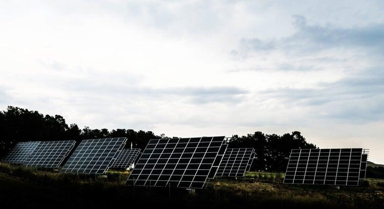 Cloudy solar panels smog energy
