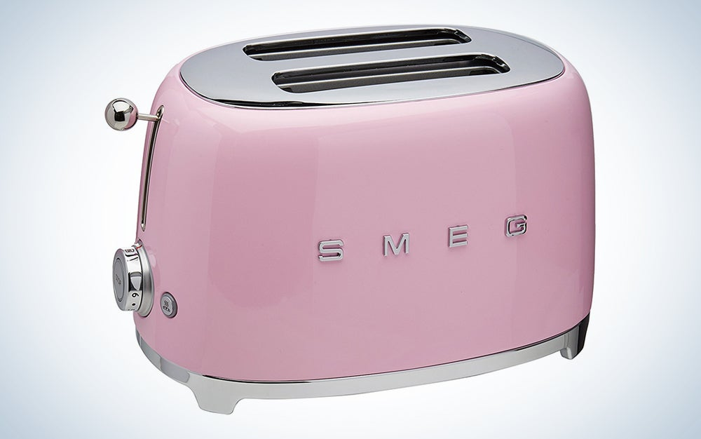 a pink toaster