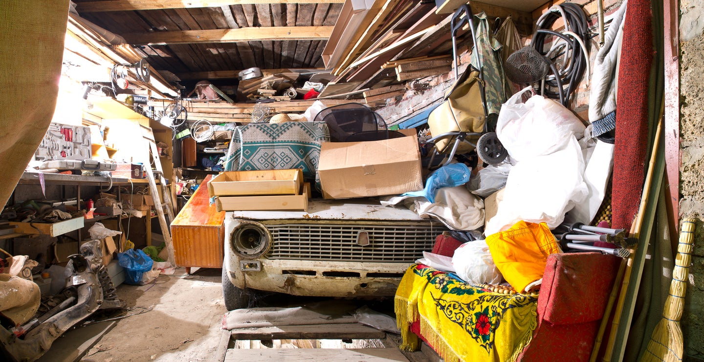 messy garage with stored junk
