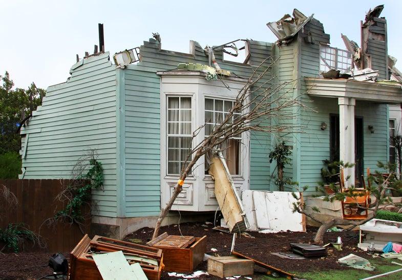 Storm damaged house