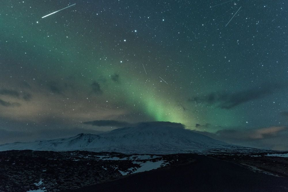 Meteor shower and Northern Lights over Snæfellsnes glacier, Iceland
