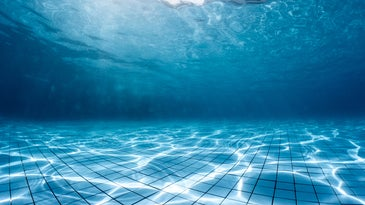 A swimming pool, from under the water.