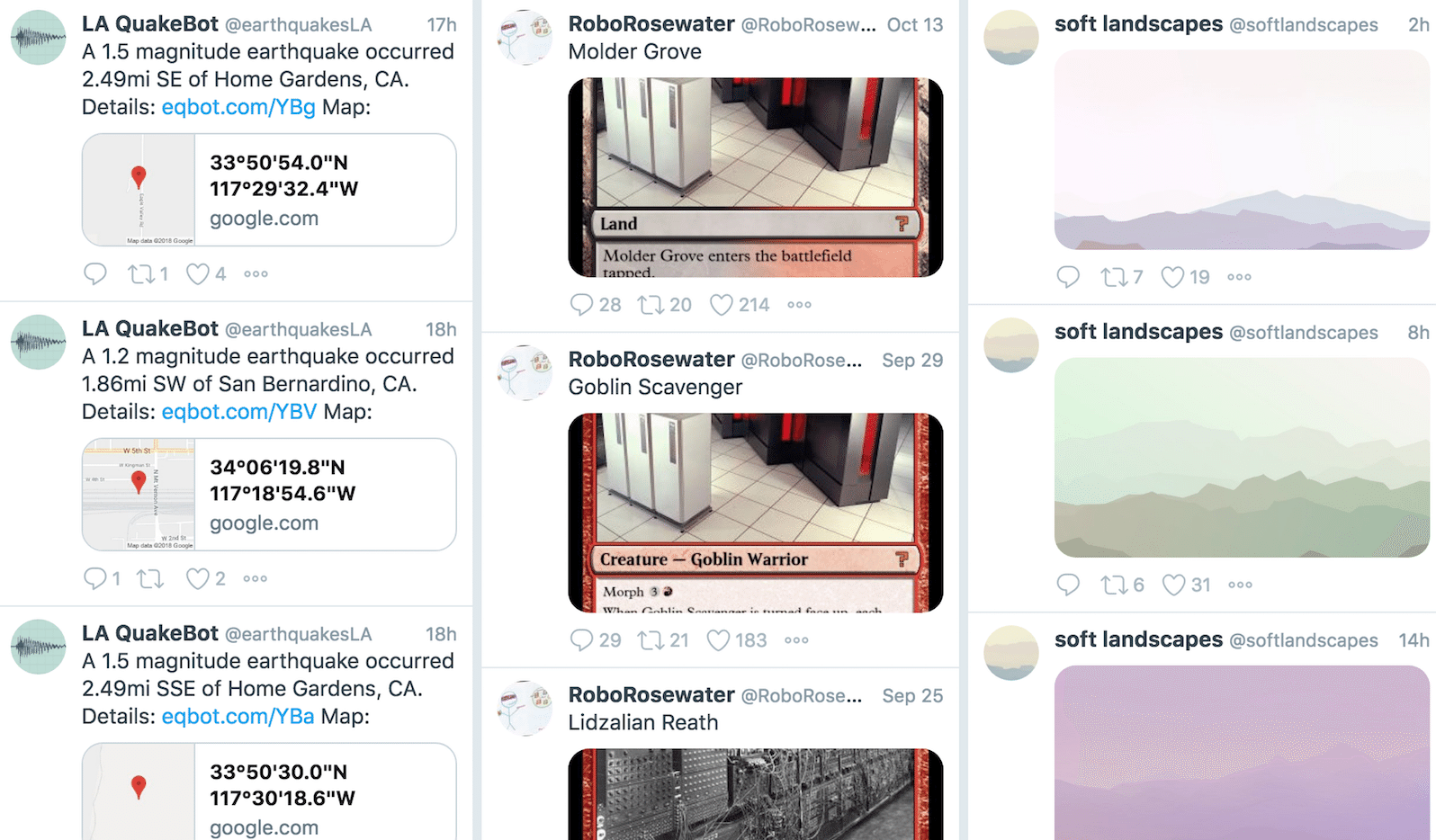 Twitter bots earthquakesLA roborosewater softlandscapes