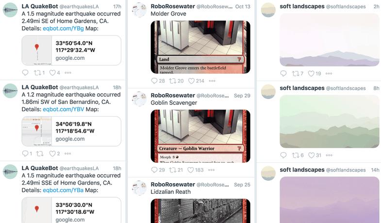 Twitter bots earthquakesLA roborosewater softlandscapes