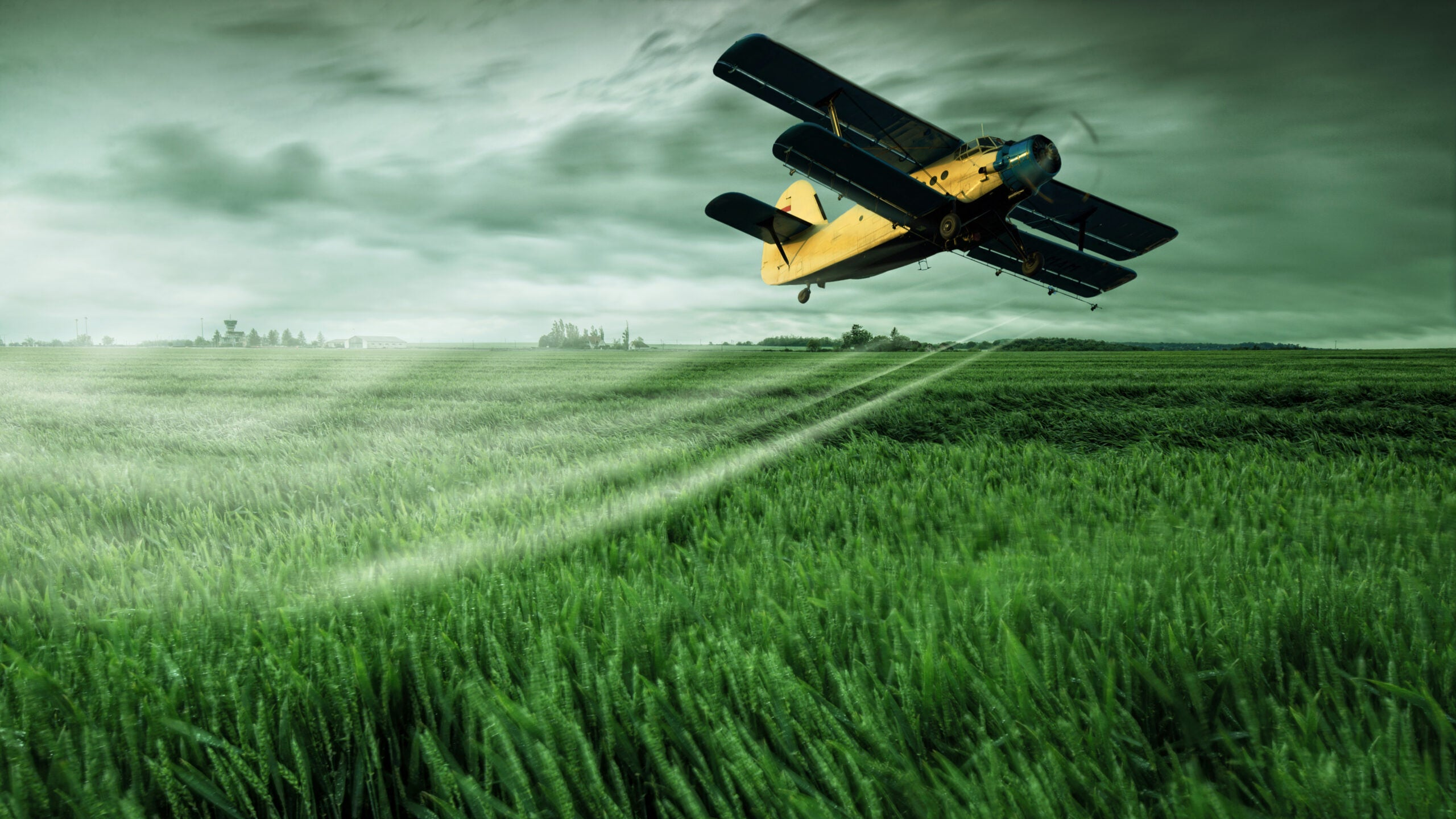 A plane sprays a field with pesticides.