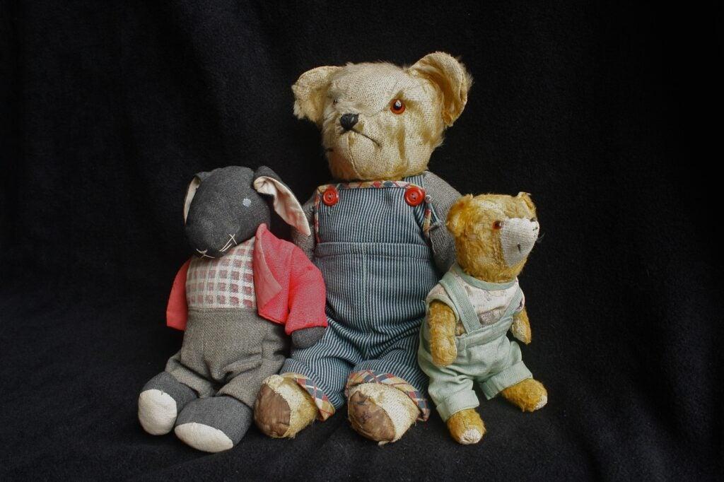 Old teddy bear toys children's vintage