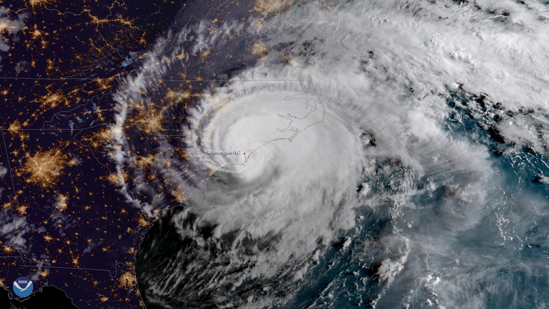 a satellite view of hurricane florence