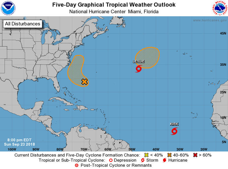 a map shows growing storms in the atlantic