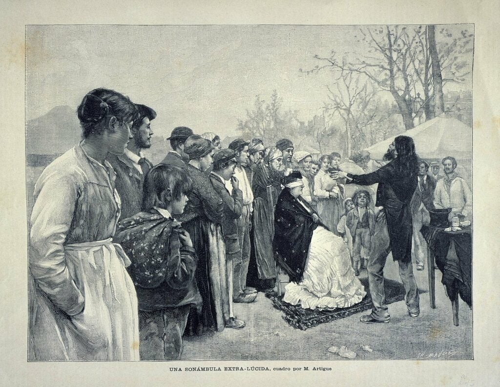an illustration of a man pretending to read someone's mind in front of a crowd