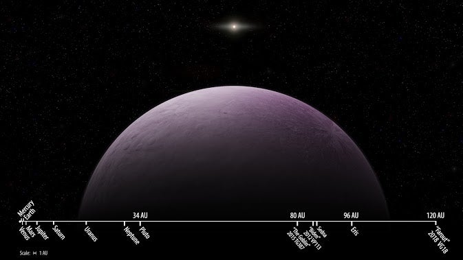 a drawing of a big purple planet