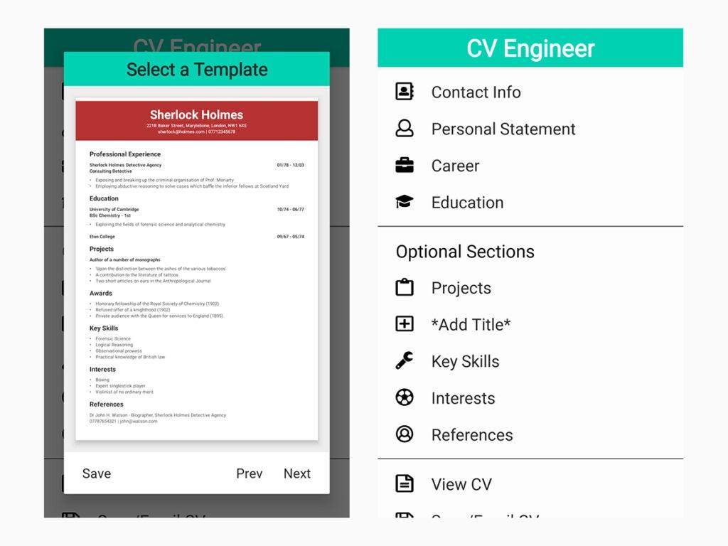 CV Engineer resume builder