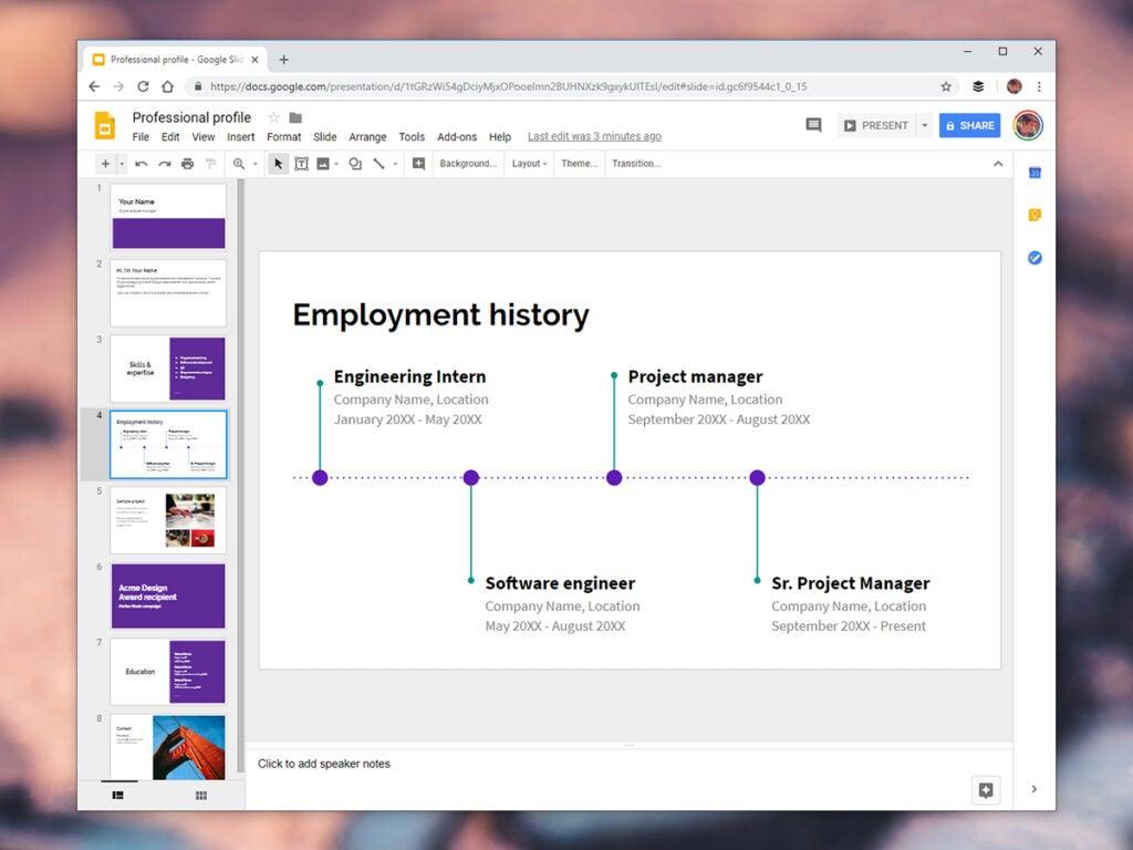 Google Slides resume builder