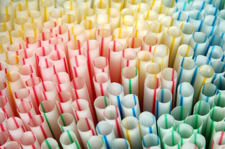 Multi-colored plastic straws.