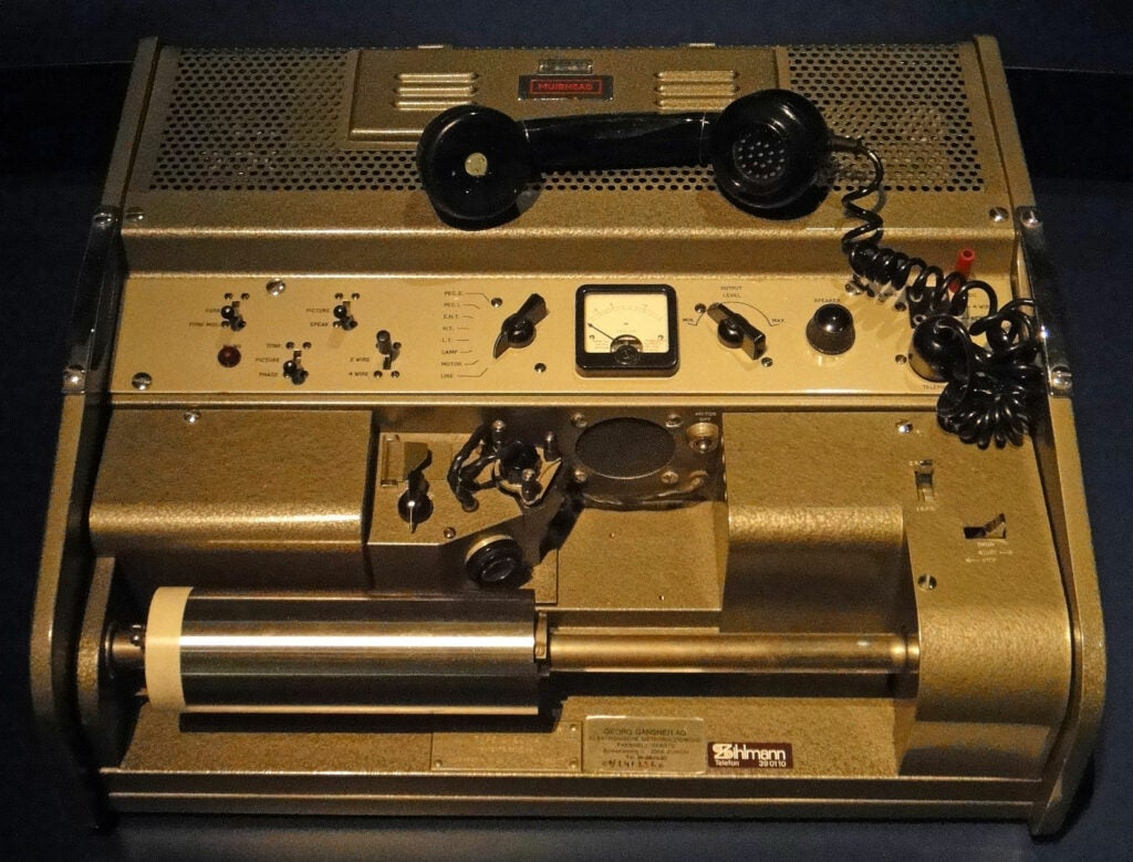 A World War II-era Muirhead fax machine.