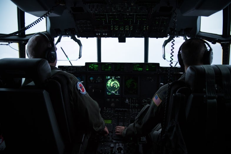 The cockpit of a hurricane hunter flight