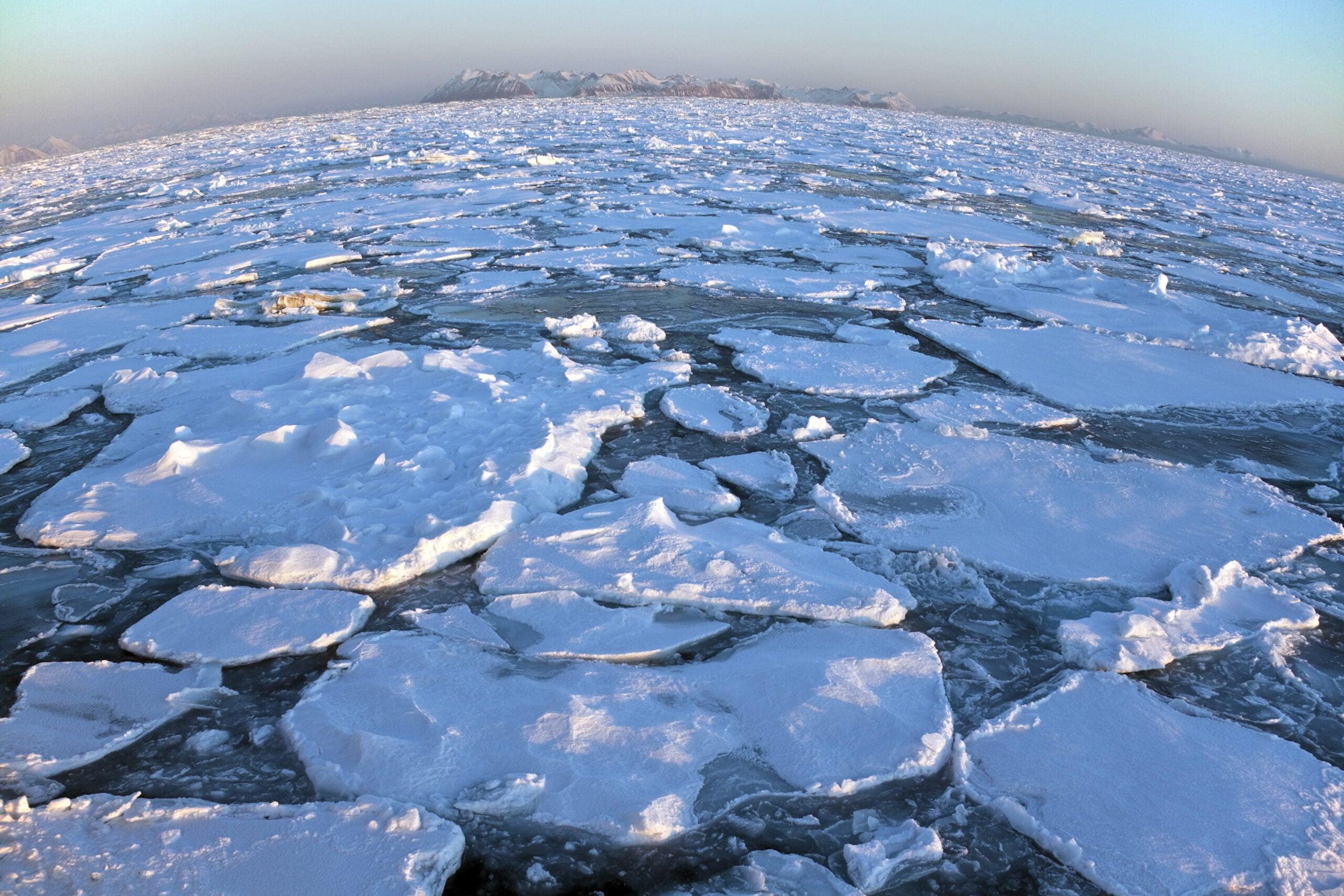 broken ice over the ocean