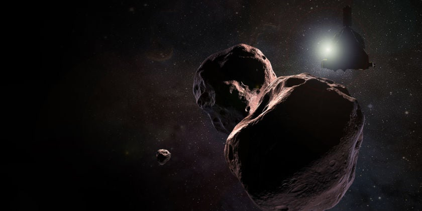 a two-lobed rock floating in space