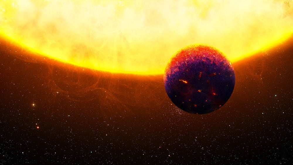 an illustration of a blue and red planet next to a large sun
