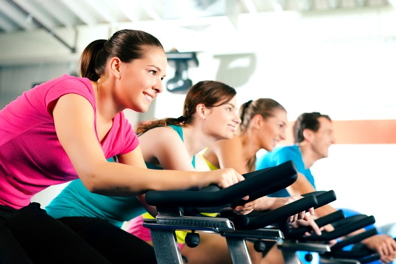 group spinning on exercise bikes