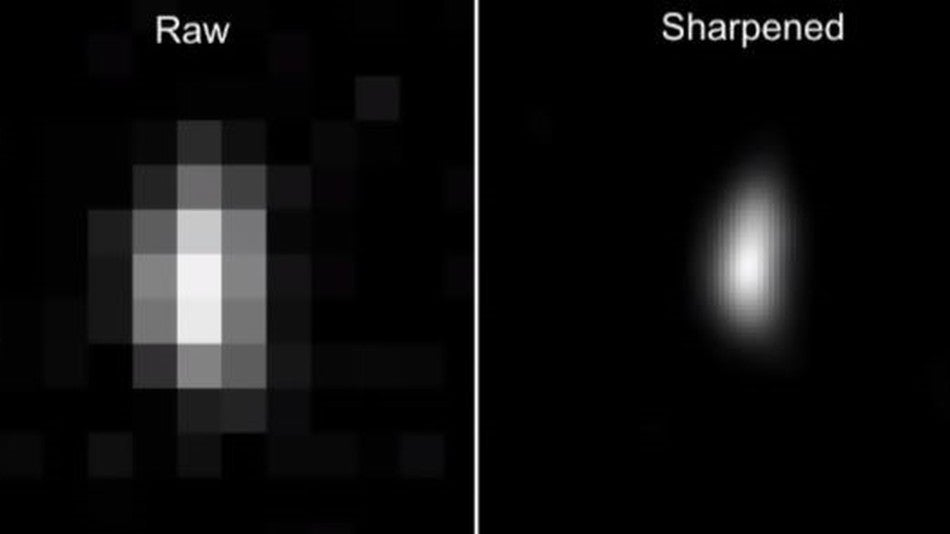 a pixelated raw image on the left, and a sharpened image of a fuzzy oval on the right