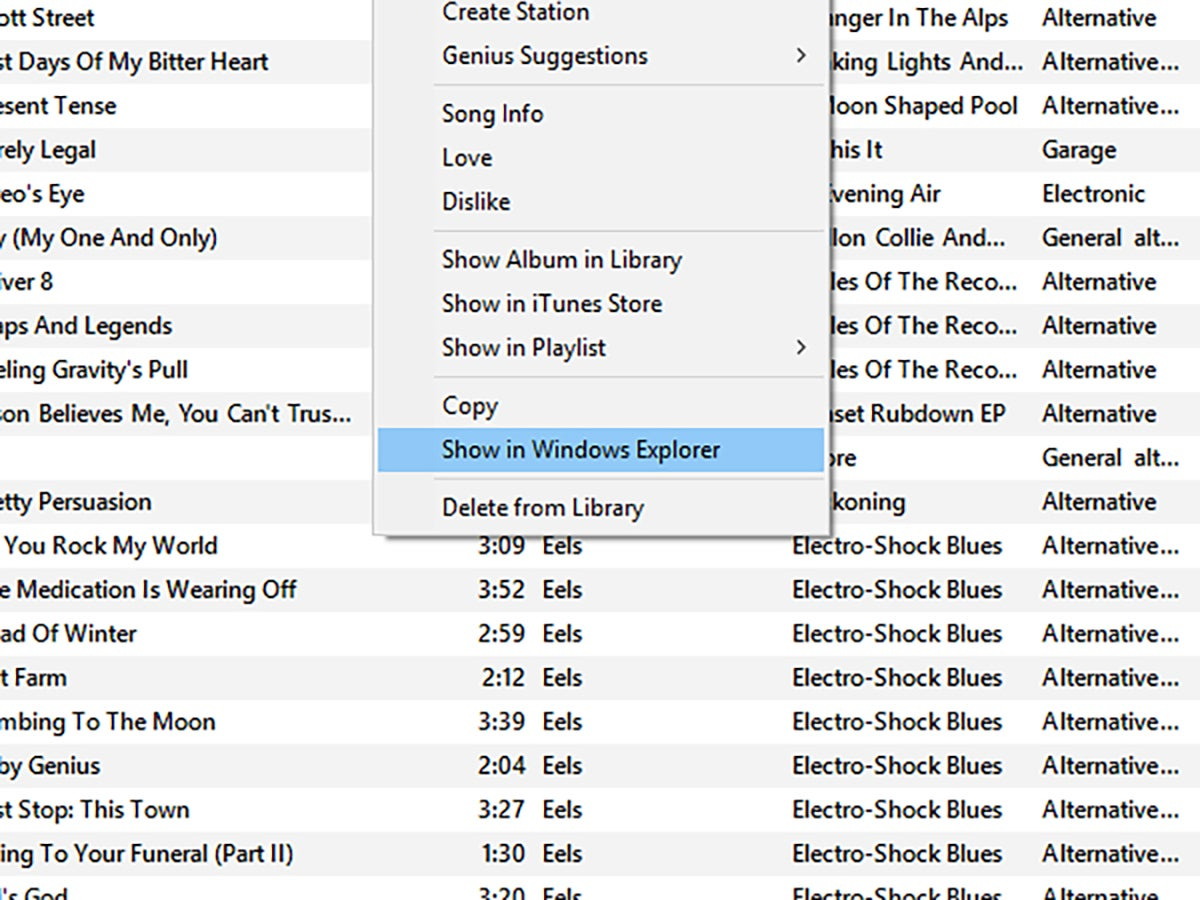 The menu options for finding a file in Windows Explorer in iTunes.
