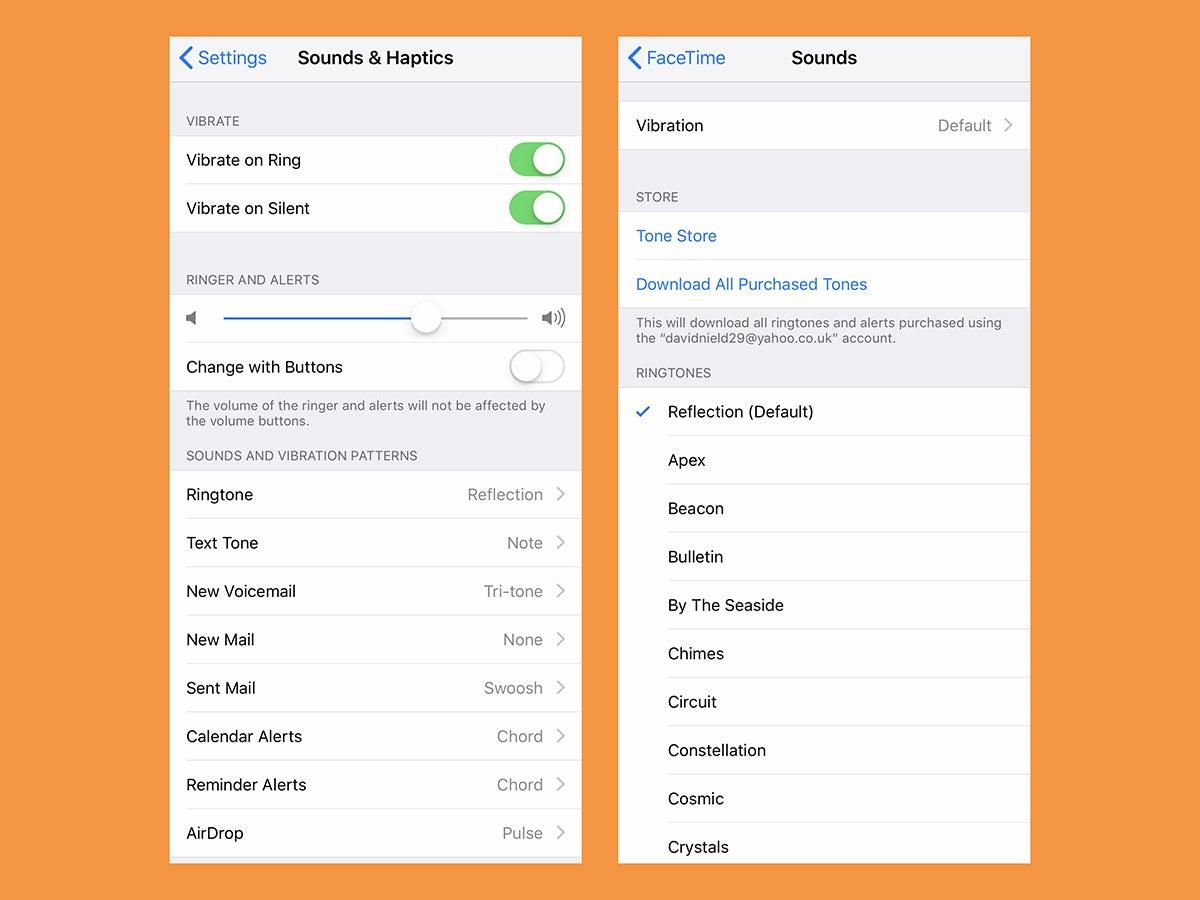 The options for setting a custom iPhone ringtone.