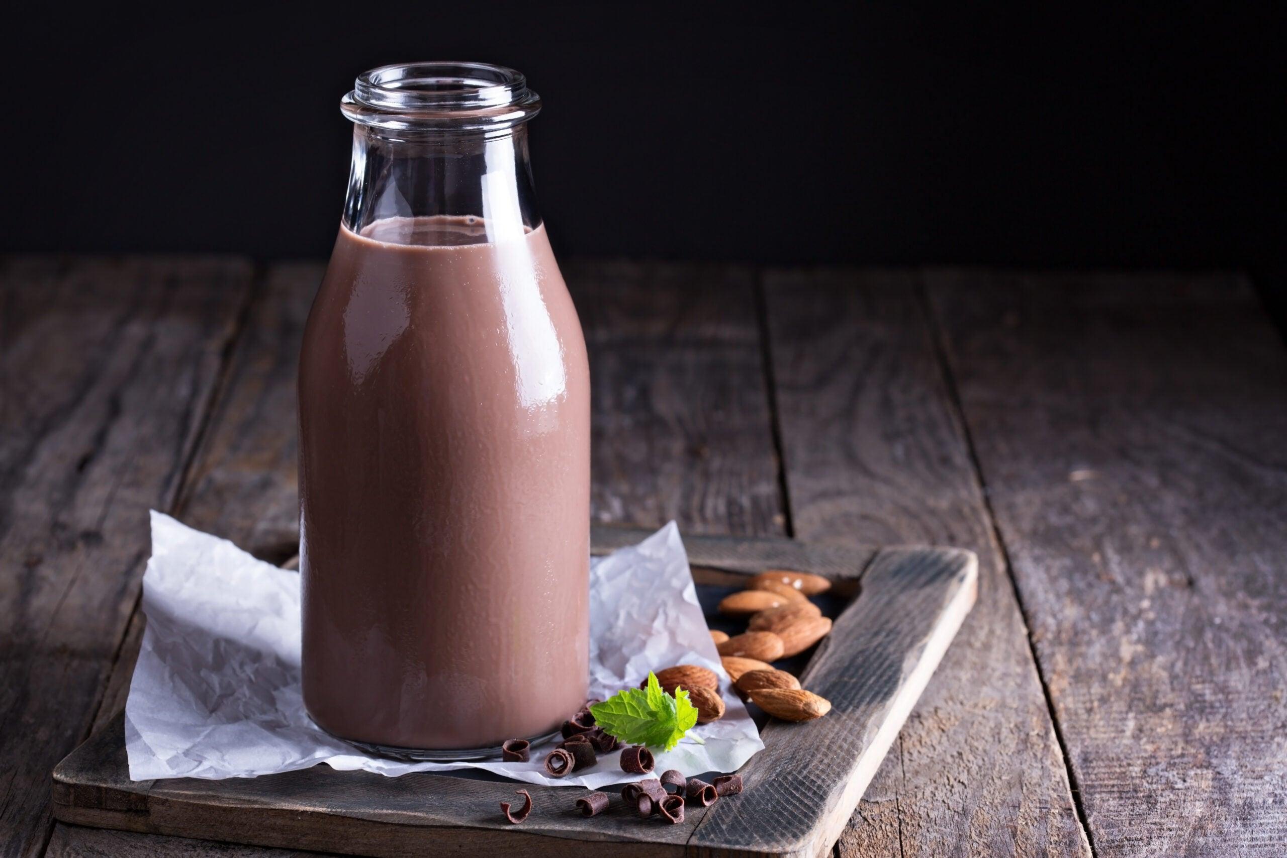 a bottle of chocolate milk