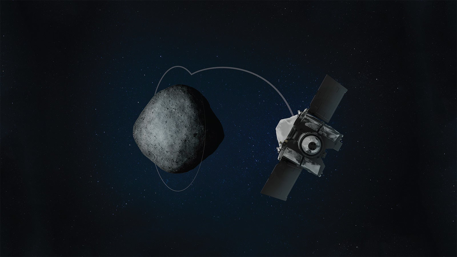 a drawing of a spacecraft orbiting a small asteroid