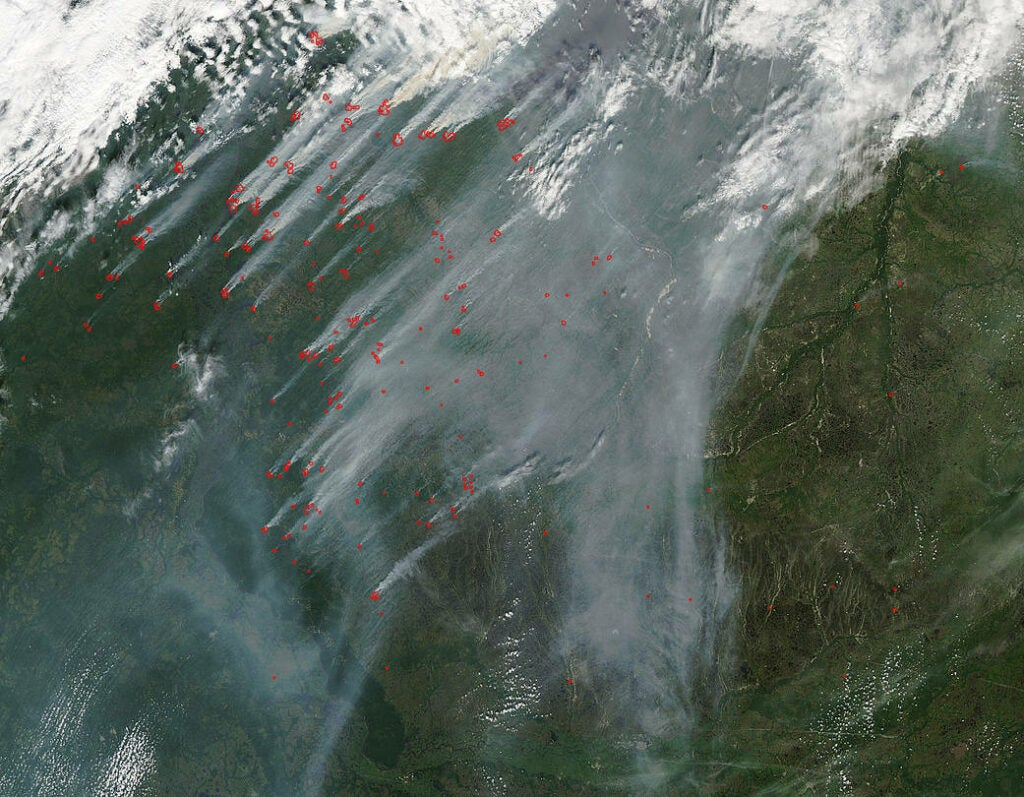 Siberian wildfires as seen from satellite imagery.