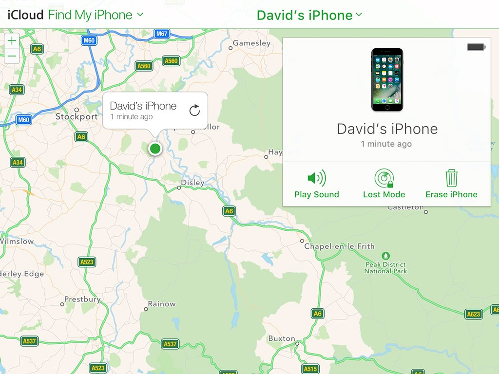 The Find My iPhone map.